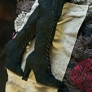 Shoes - Faux suede over knee lace up boot